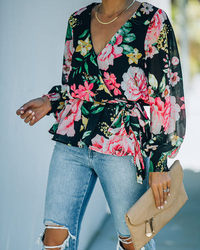 Send My Love Floral Smocked Peplum Blouse