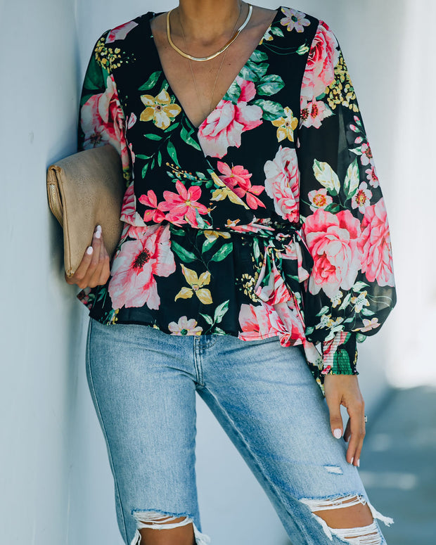Send My Love Floral Smocked Peplum Blouse - FINAL SALE view 9