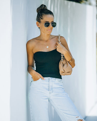 Pixy Ribbed Knit Tube Top - Black