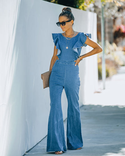 Kadie Cotton Blend Flared Denim Jumpsuit