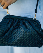 Milan Mini Woven Crossbody Pouch Bag - Black view 4