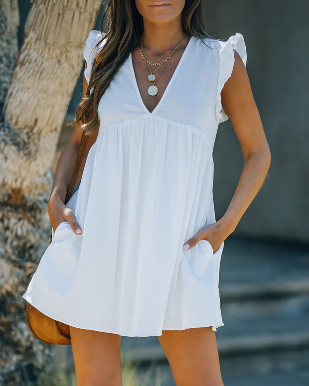 Trendsetter Cotton Pocketed Babydoll Dress - White view 3