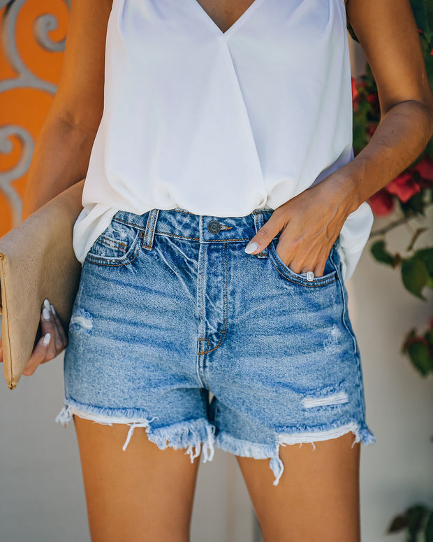 Devin High Rise Distressed Denim Shorts view 5