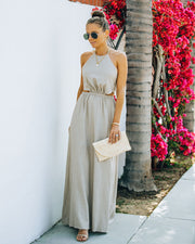 Rachelle Linen Blend Cutout Halter Maxi Dress - Taupe view 5
