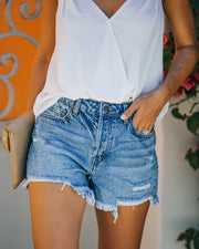 Devin High Rise Distressed Denim Shorts view 10