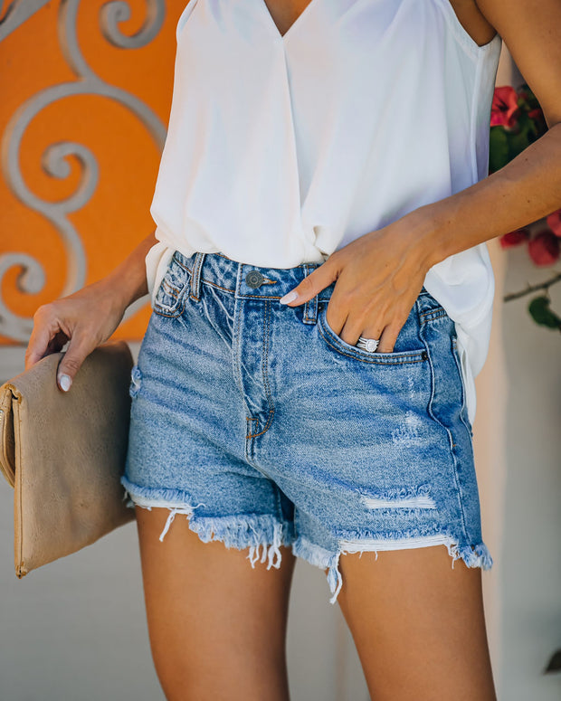 Devin High Rise Distressed Denim Shorts view 1