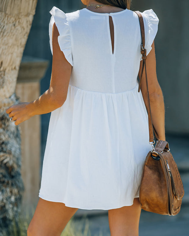 Trendsetter Cotton Pocketed Babydoll Dress - White view 2