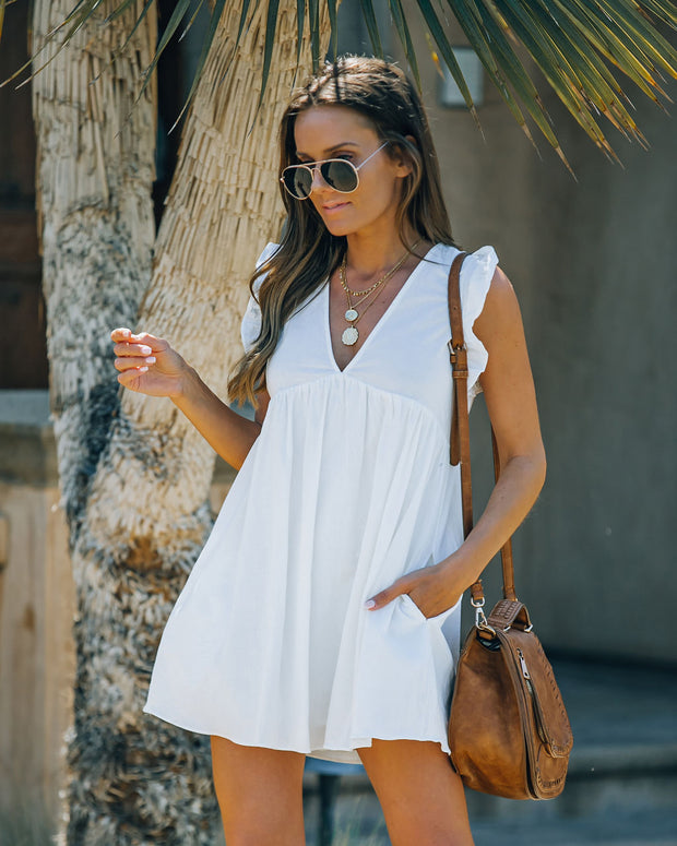 Trendsetter Cotton Pocketed Babydoll Dress - White view 1
