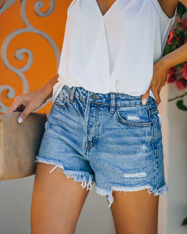 Devin High Rise Distressed Denim Shorts view 8