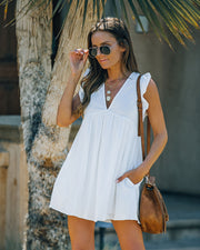 Trendsetter Cotton Pocketed Babydoll Dress - White view 6