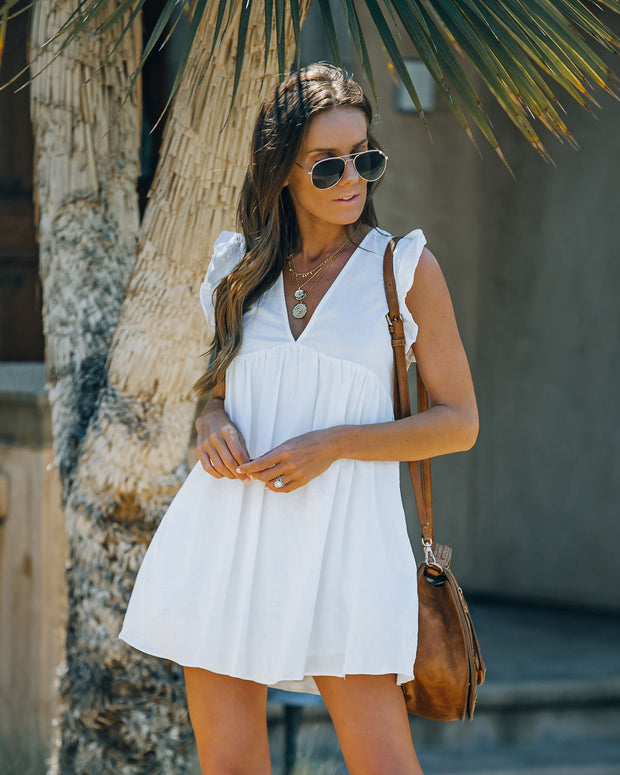 Trendsetter Cotton Pocketed Babydoll Dress - White view 8