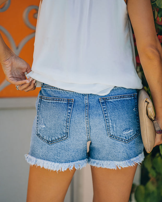 Devin High Rise Distressed Denim Shorts view 2