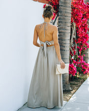Rachelle Linen Blend Cutout Halter Maxi Dress - Taupe view 2