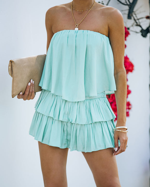 Phoebe Strapless Smocked Romper - Mint view 3
