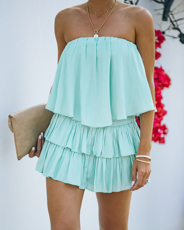 Phoebe Strapless Smocked Romper - Mint view 6