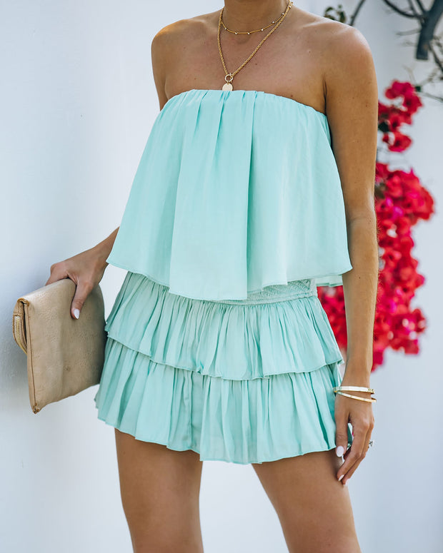 Phoebe Strapless Smocked Romper - Mint view 9