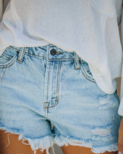 Cole High Rise Distressed Denim Shorts view 4