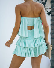 Phoebe Strapless Smocked Romper - Mint view 2