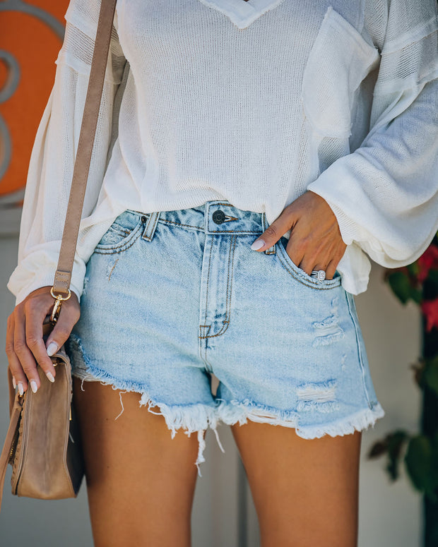 Cole High Rise Distressed Denim Shorts view 1