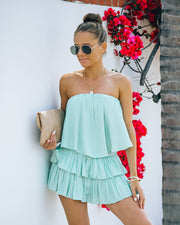 Phoebe Strapless Smocked Romper - Mint view 5