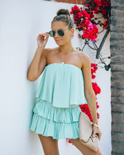 Phoebe Strapless Smocked Romper - Mint view 1