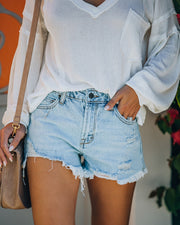 Cole High Rise Distressed Denim Shorts view 8