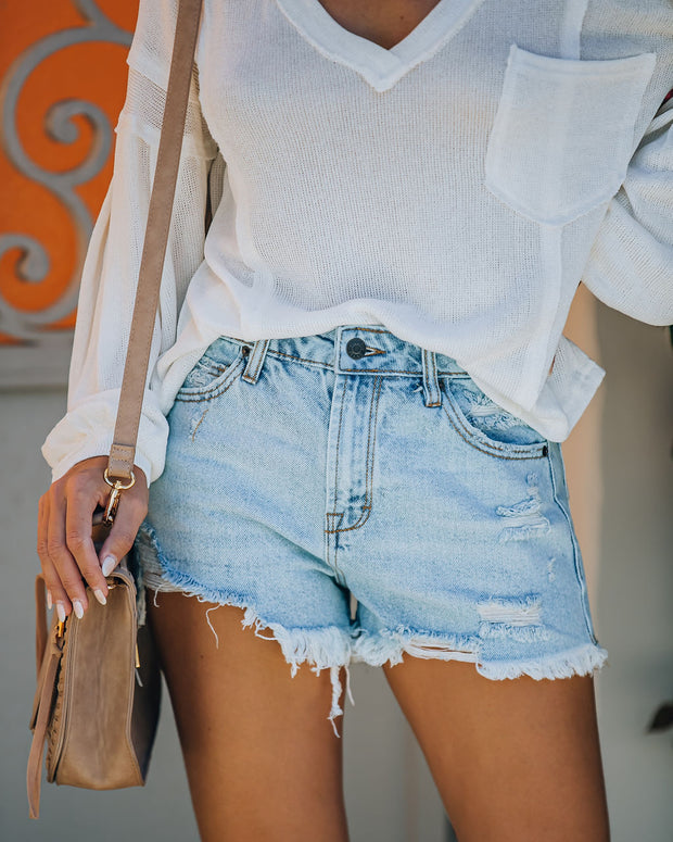 Cole High Rise Distressed Denim Shorts view 5