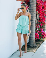 Phoebe Strapless Smocked Romper - Mint view 8