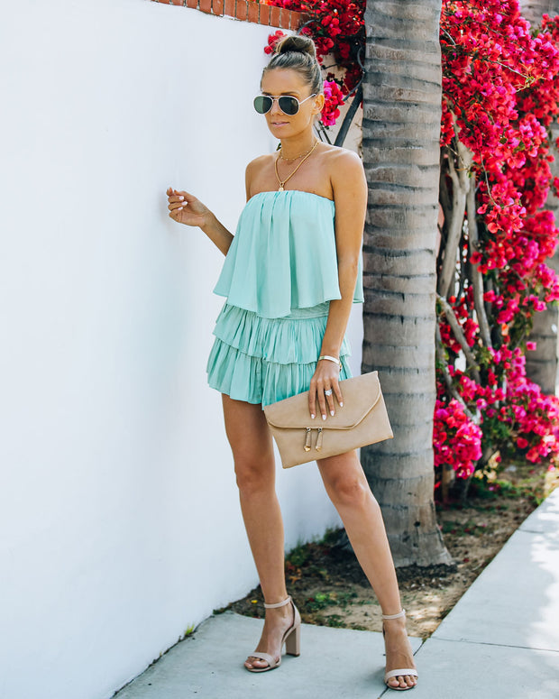 Phoebe Strapless Smocked Romper - Mint view 10