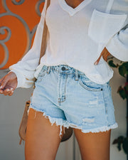 Cole High Rise Distressed Denim Shorts view 10