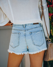 Cole High Rise Distressed Denim Shorts view 2