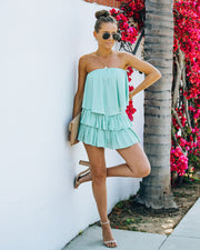 Phoebe Strapless Smocked Romper - Mint view 7