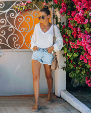 Cole High Rise Distressed Denim Shorts view 3