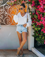 Cole High Rise Distressed Denim Shorts view 6