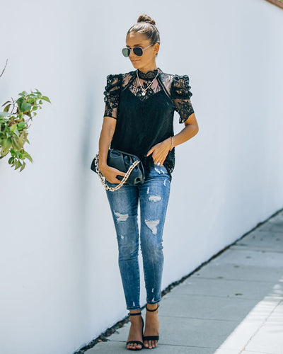 Songwriter Scalloped Lace Blouse - Black