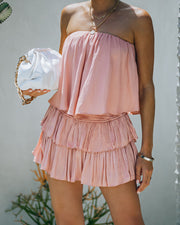 Phoebe Strapless Smocked Romper - Powder Rose view 3