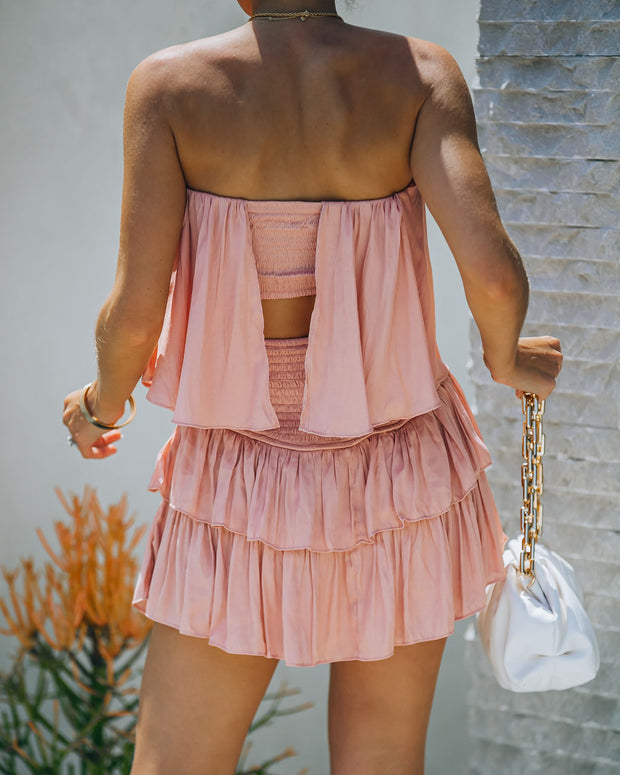 Phoebe Strapless Smocked Romper - Powder Rose view 2