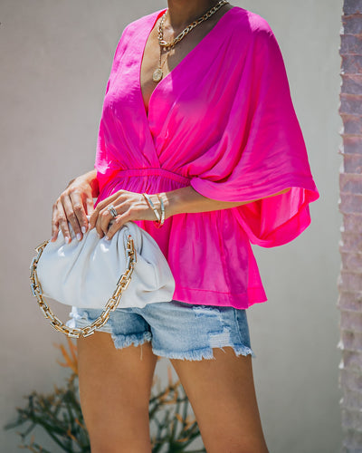 Love Stories Peplum Blouse - Hot Pink