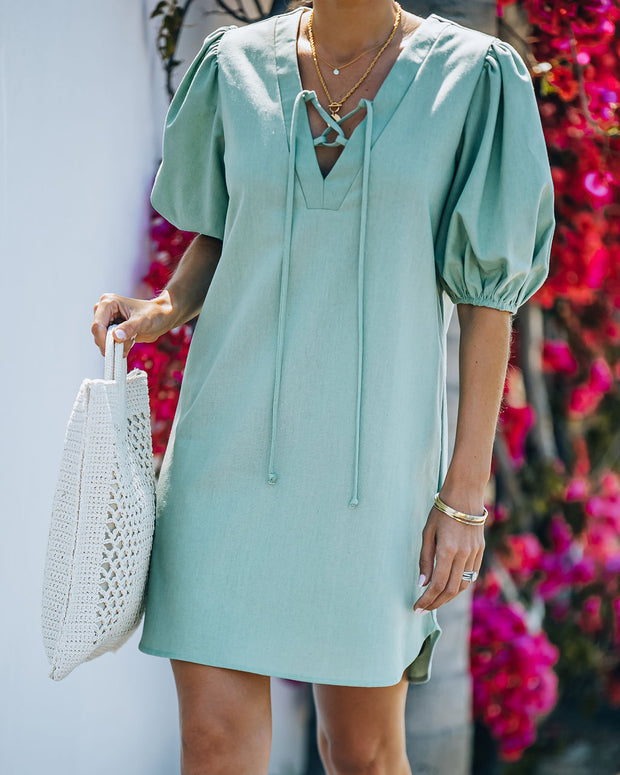 Lakeshore Linen Blend Puff Sleeve Dress - Sage view 10