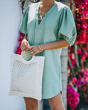 Lakeshore Linen Blend Puff Sleeve Dress - Sage view 7