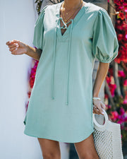 Lakeshore Linen Blend Puff Sleeve Dress - Sage view 3