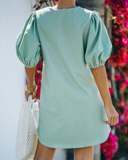 Lakeshore Linen Blend Puff Sleeve Dress - Sage view 2