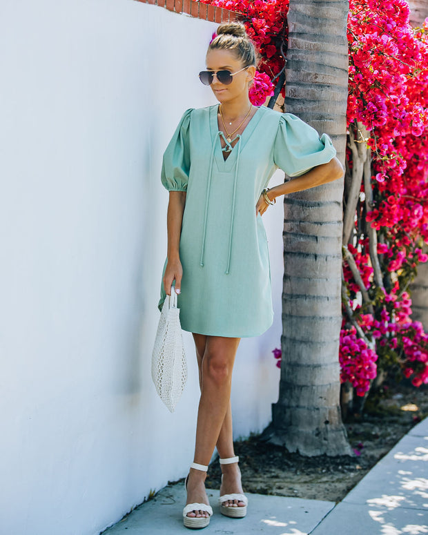 Lakeshore Linen Blend Puff Sleeve Dress - Sage view 6