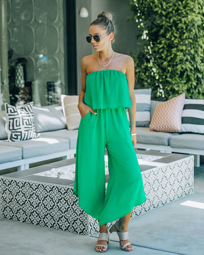 Becky Strapless Pocketed Asymm Jumpsuit