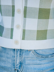 Von Gingham Button Front Knit Cardigan - White/ Sage - FINAL SALE view 4