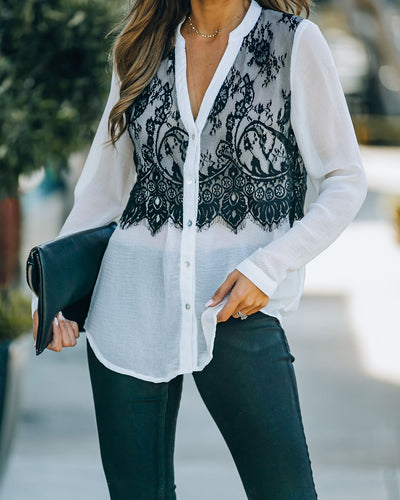 Monticello Button Down Lace Contrast Blouse