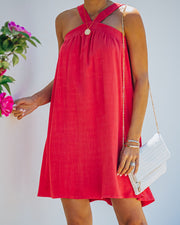 Hot Fun Linen Blend Halter Dress - Hot Pink view 5