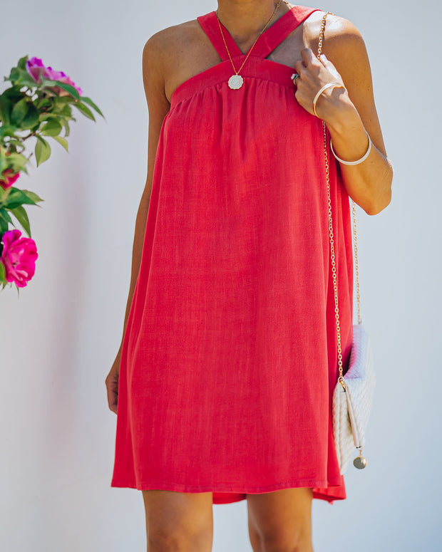 Hot Fun Linen Blend Halter Dress - Hot Pink view 9
