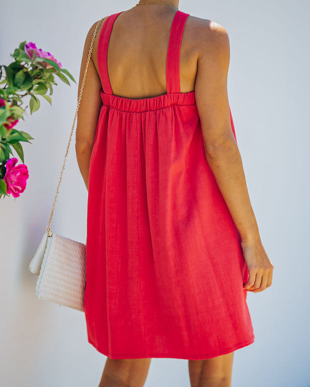 Hot Fun Linen Blend Halter Dress - Hot Pink view 2