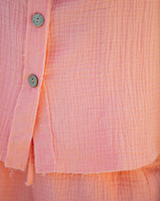 Rayan Cotton Collared Button Down Top - Bright Peach view 4